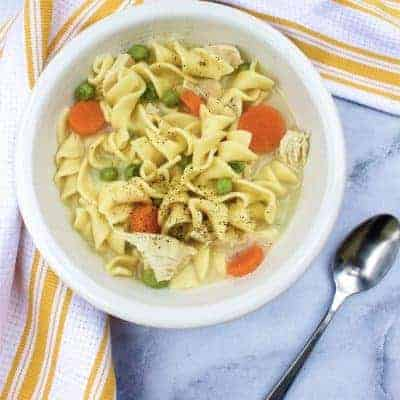 Homemade Creamy Chicken Noodle Soup in the Instant Pot