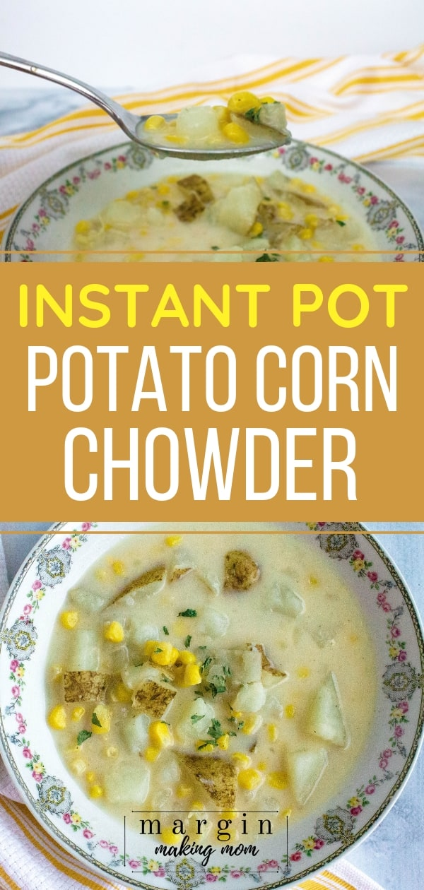 potato corn chowder in a china bowl