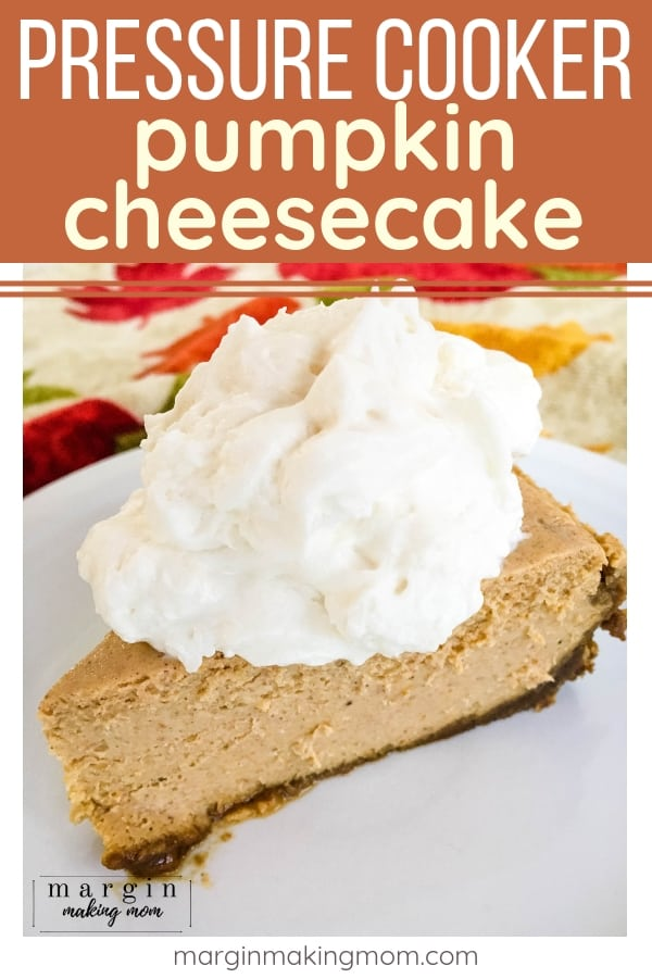 slice of Instant Pot pumpkin cheesecake on a white plate, topped with whipped cream