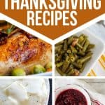 collage of turkey, green beans, mashed potatoes, cranberry sauce