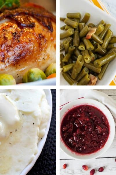 collage of turkey, green beans, mashed potatoes, and cranberry sauce