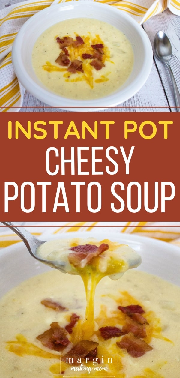 white bowl filled with instant pot potato soup topped with bacon crumbles and melted cheese