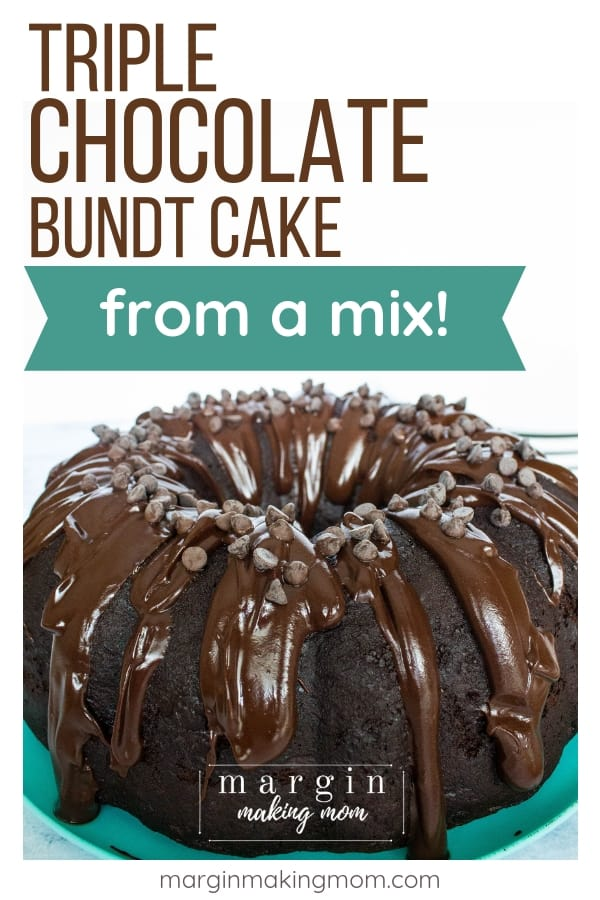 triple chocolate bundt cake topped with glaze and chocolate cips