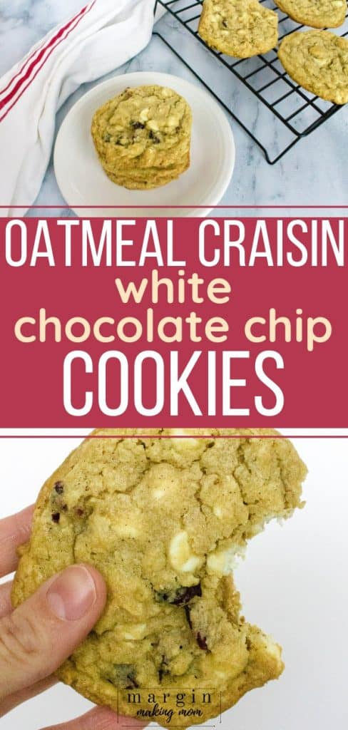 oatmeal cranberry white chocolate chip cookies on a white plate