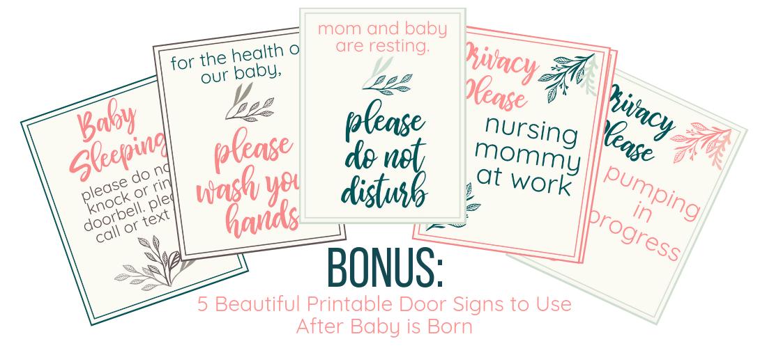 Printable New Mom Door Signs
