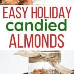 ribbon-wrapped glass jar of candied almonds