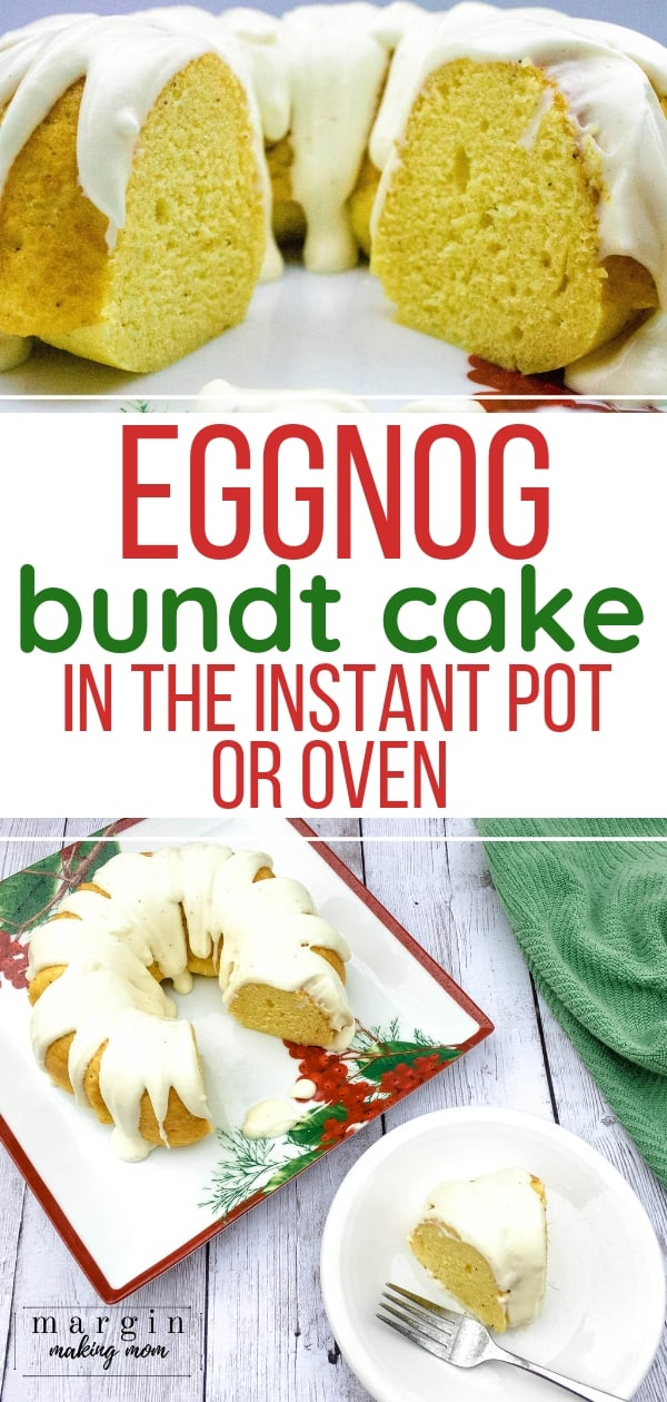 eggnog bundt cake on a holiday platter