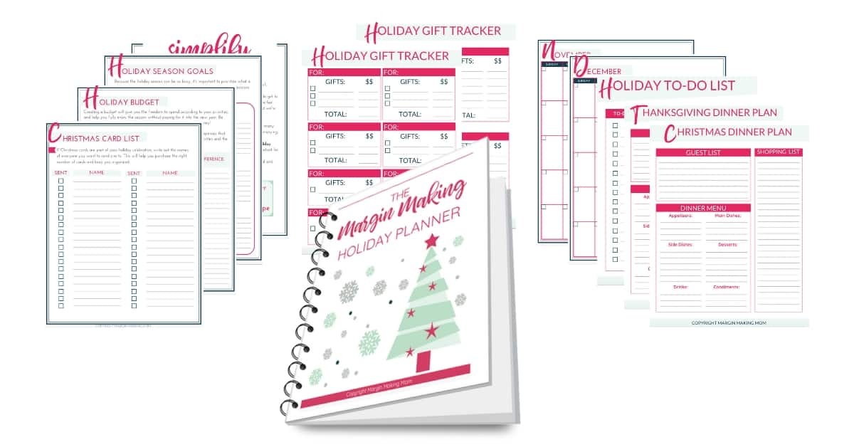 margin making mom holiday planner