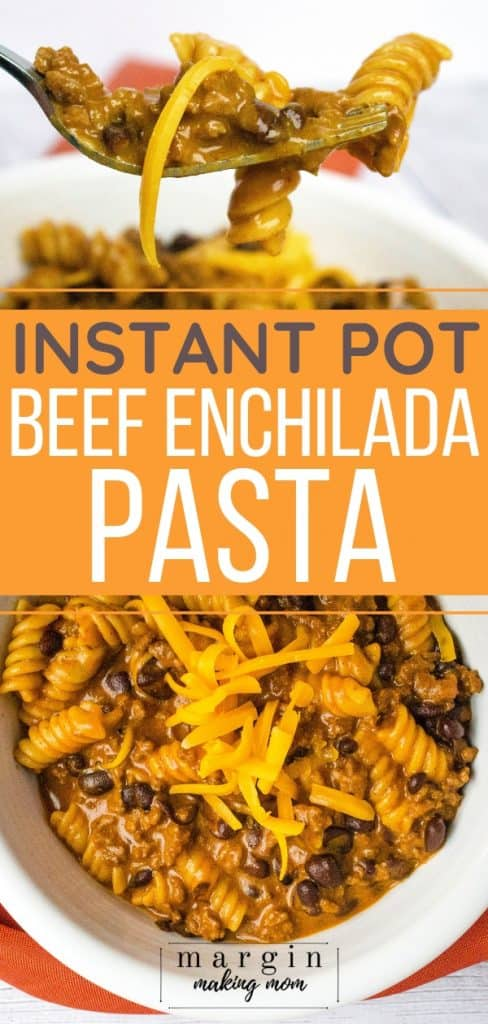 white bowl filled with instant pot enchilada pasta