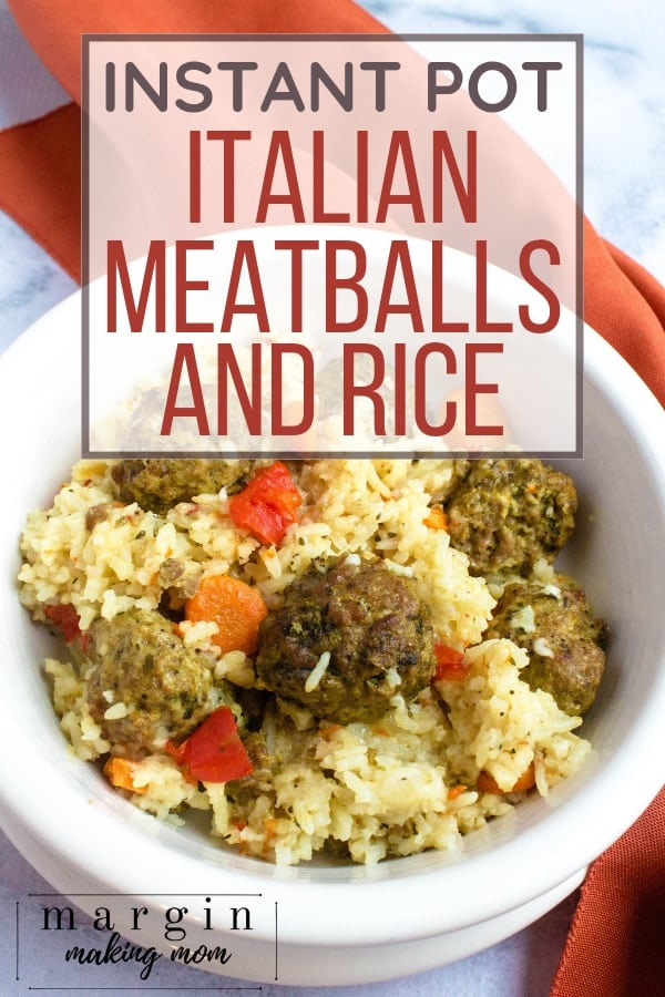 white bowl filled with meatballs and rice made in the Instant Pot