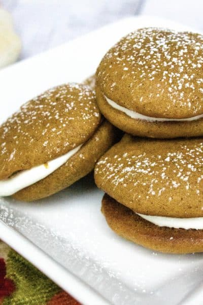 stack of whoopie pies on a white plate