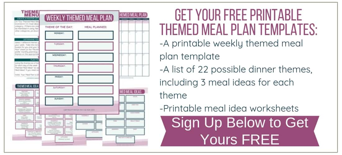 Free Thematic Meal Planning Printable