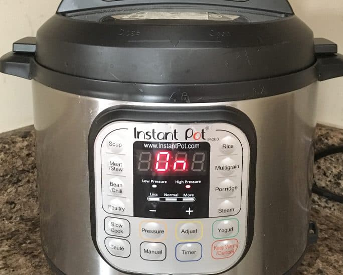 Instant Pot pressure cooker on a kitchen counter
