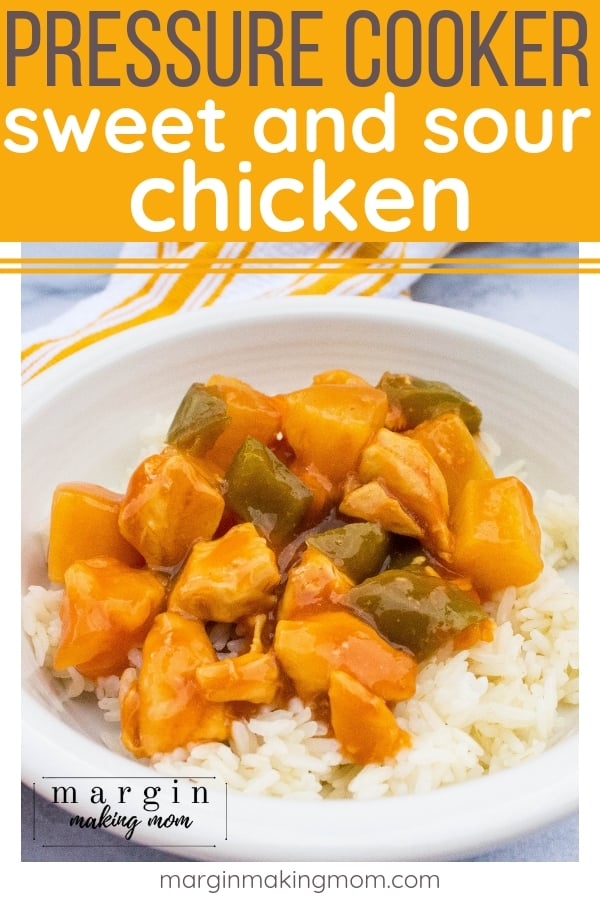 white bowl filled with white rice and pressure cooker sweet and sour chicken