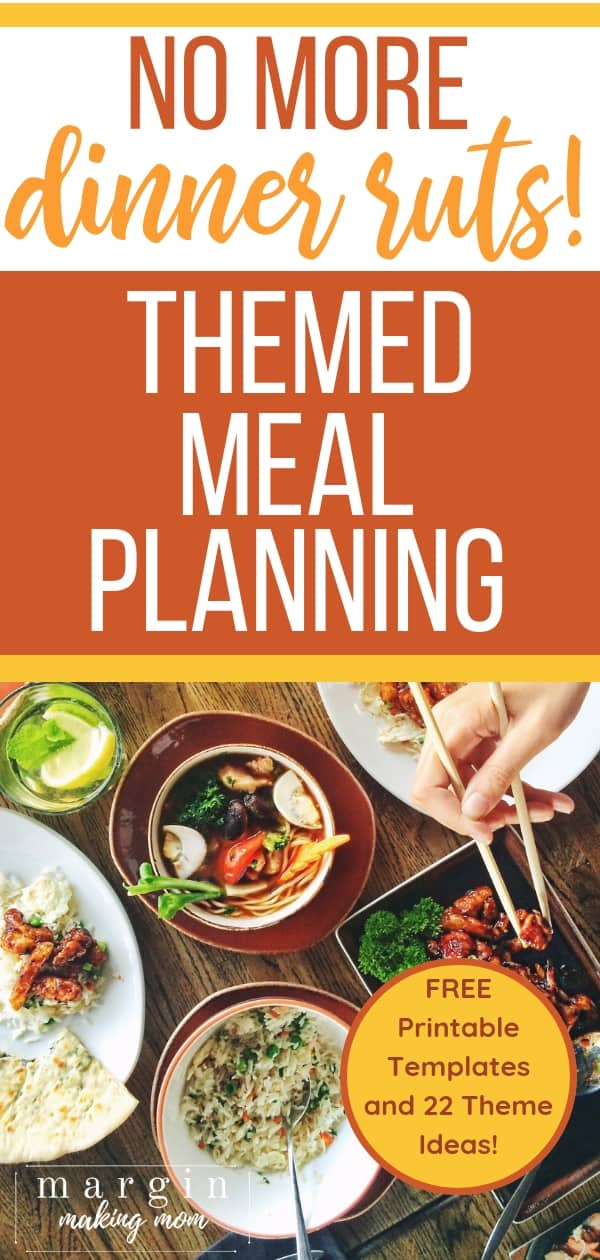 free printable thematic weekly menu planning kit