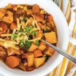 white bowl filled with Instant Pot sweet potato chili