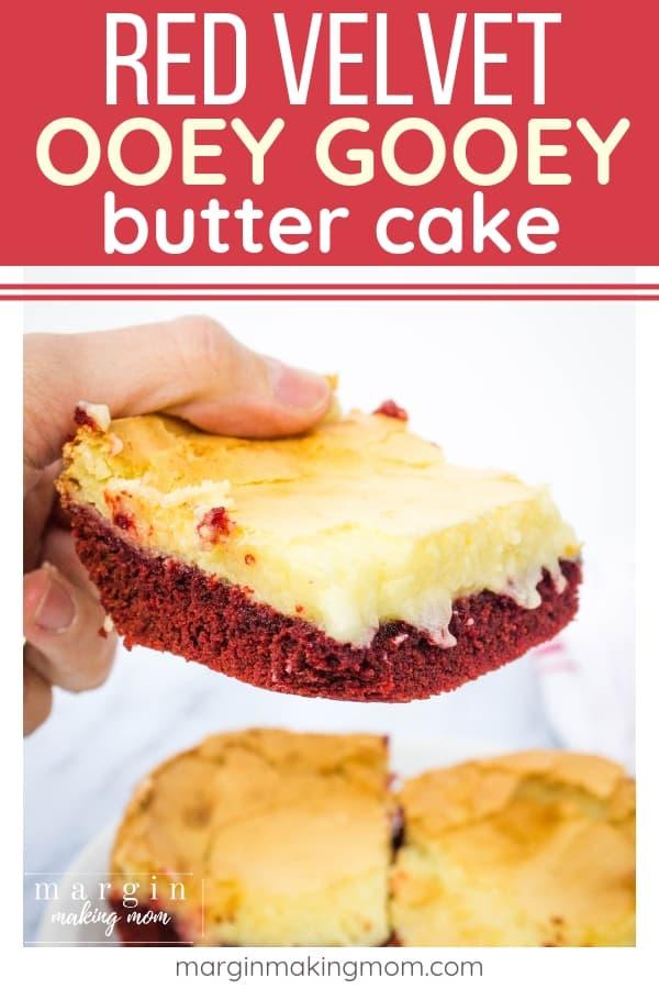 Red velvet ooey gooey butter cake dessert bars