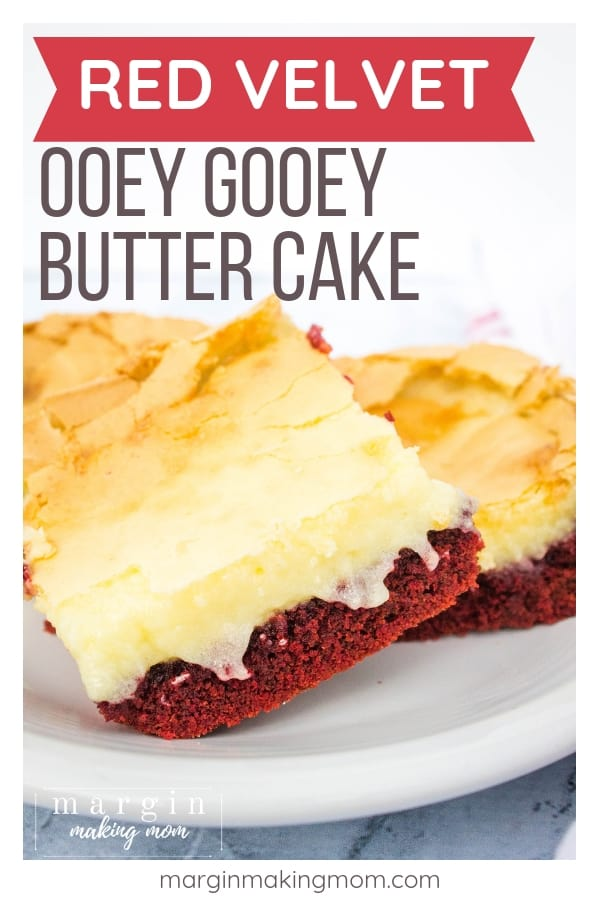 red velvet ooey gooey bars on a white plate