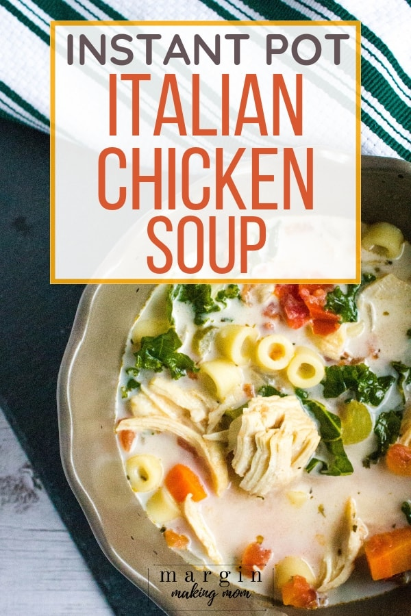 brown bowl filled with Instant Pot Italian Chicken Soup