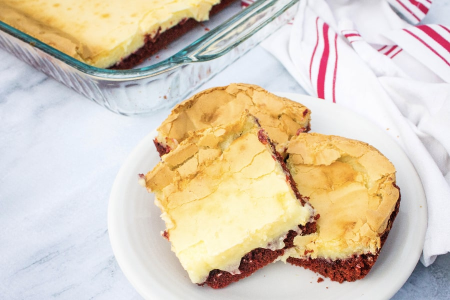 red velvet dessert bars made with cake mix and cream cheese