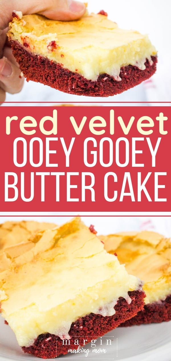 red velvet ooey gooey butter cake squares on a plate