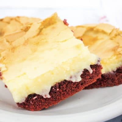 Easy Red Velvet Ooey Gooey Butter Cake
