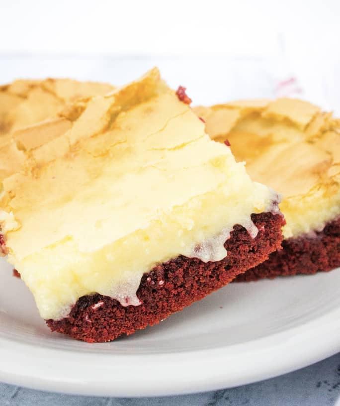 Red Velvet Ooey Gooey Butter Cake Squares