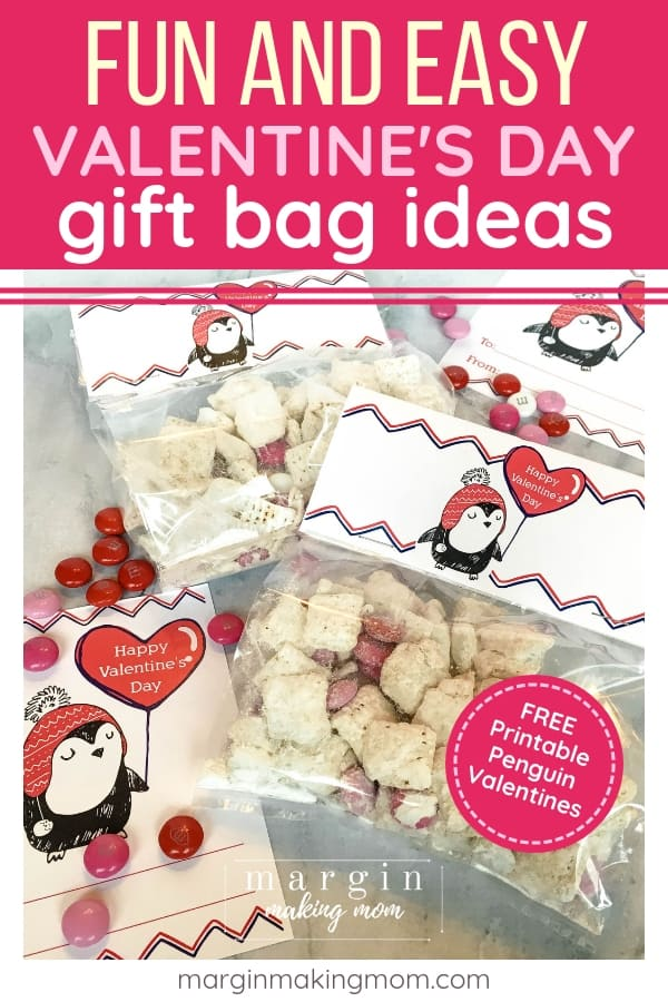 Valentine goodie bags filled with snack mix and topped with free printable penguin bag toppers