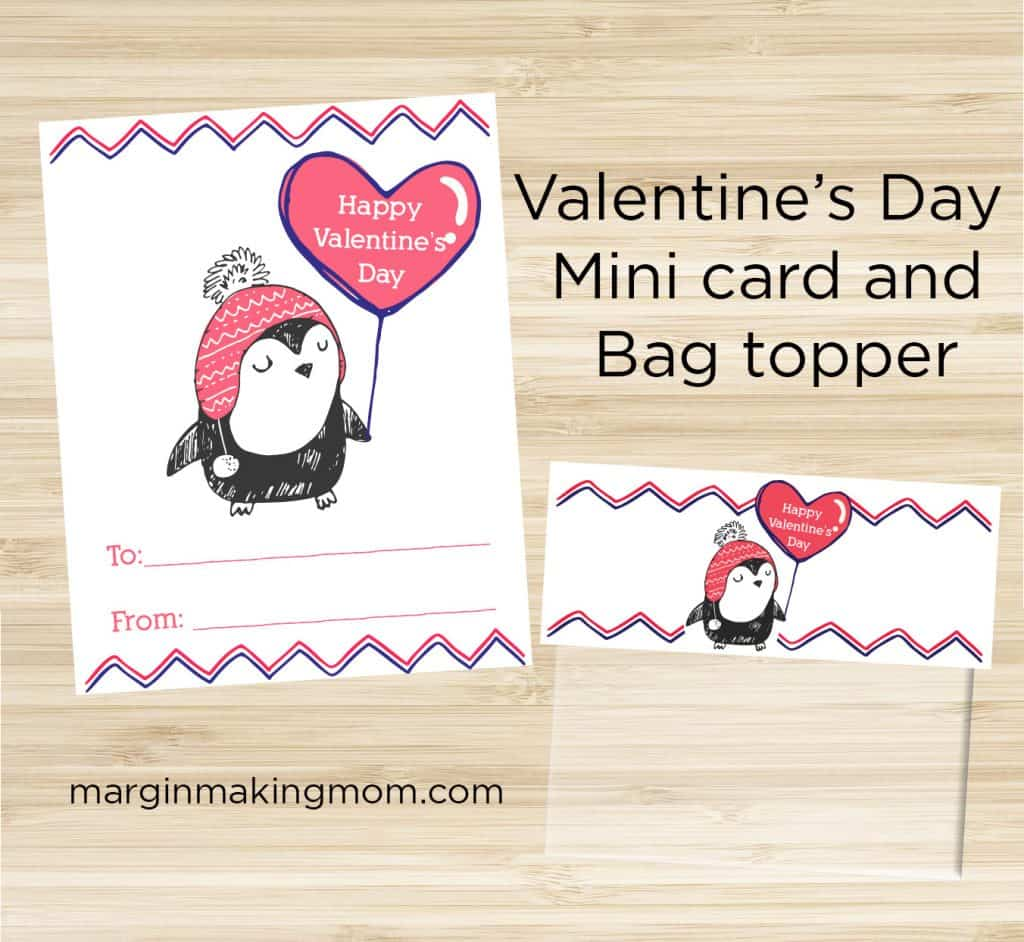 free printable penguin Valentine's Day cards and bag toppers
