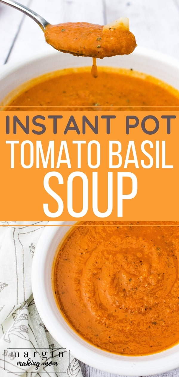white bowl filled with vegetarian Instant Pot tomato basil soup