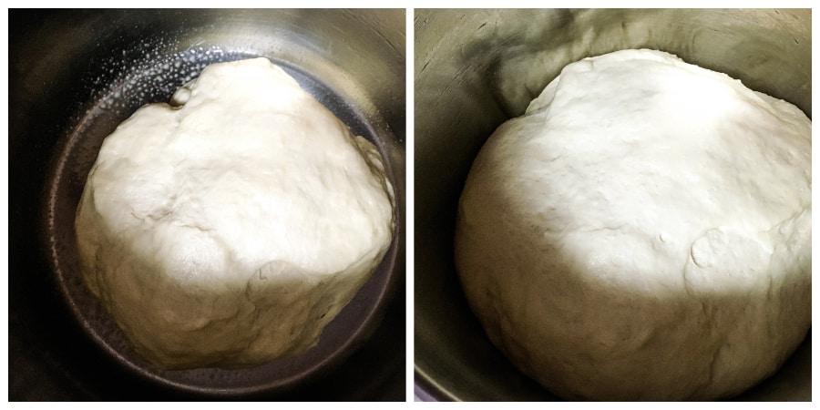 dinner roll dough rising in the Instant Pot insert pot