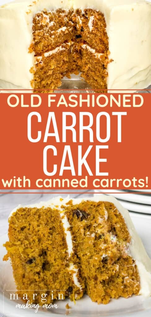 slice of carrot cake with cream cheese frosting on a white plate