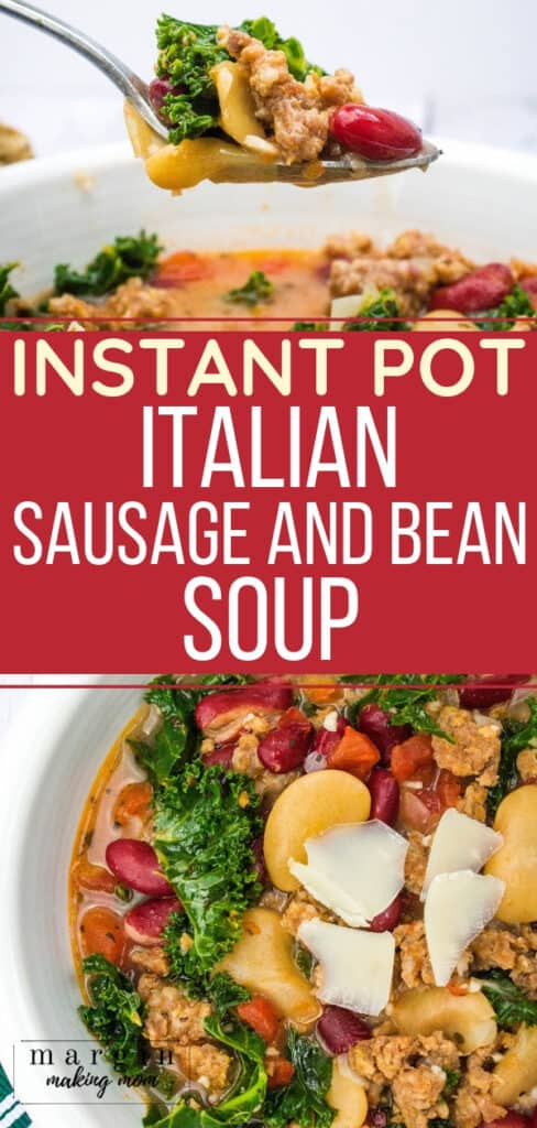 bowl of italian sausage and bean soup cooked in the Instant Pot