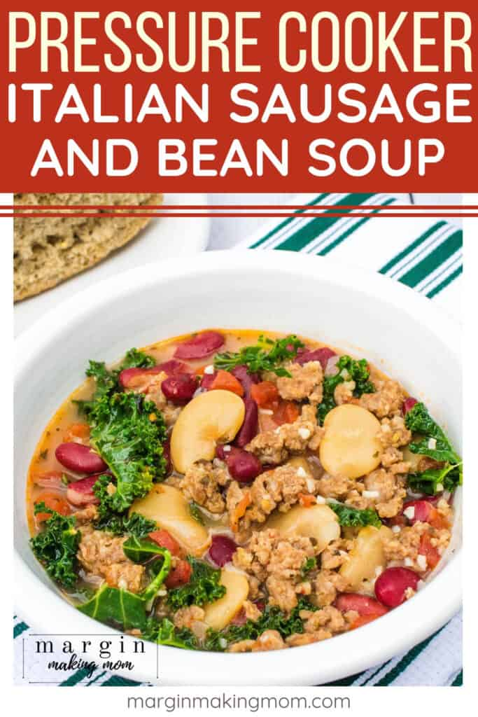 bowl filled with italian sausage and bean soup made in the Instant Pot pressure cooker