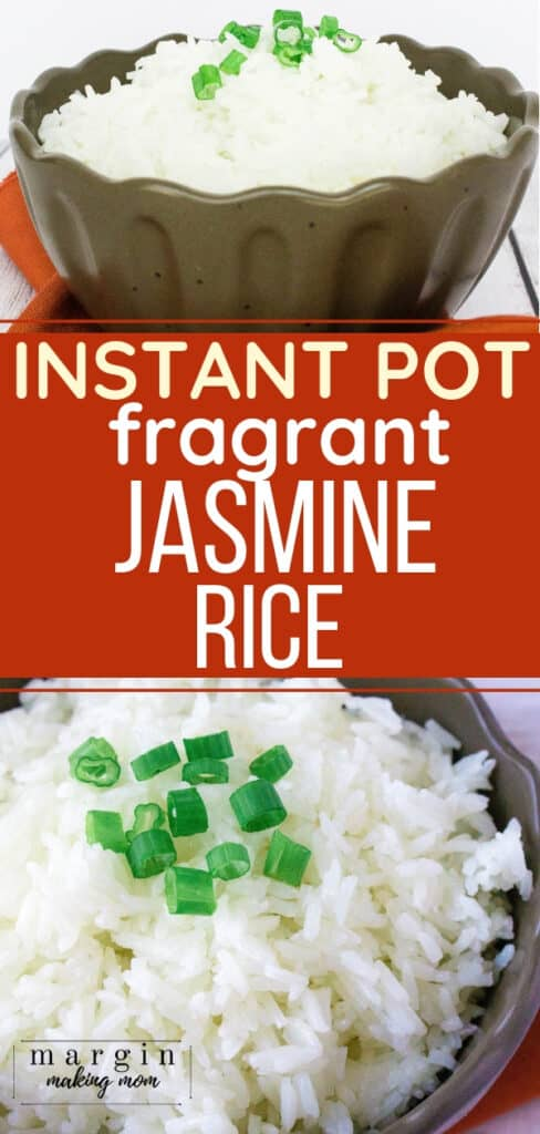 brown bowl filled with jasmine rice prepared in the Instant Pot pressure cooker