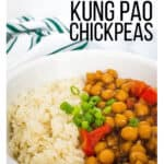 white bowl filled with white rice and kung pao chickpeas made in the Instant Pot