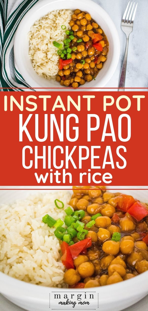 white bowl filled with white rice and kung pao chickpeas made in the Instant Pot pressure cooker