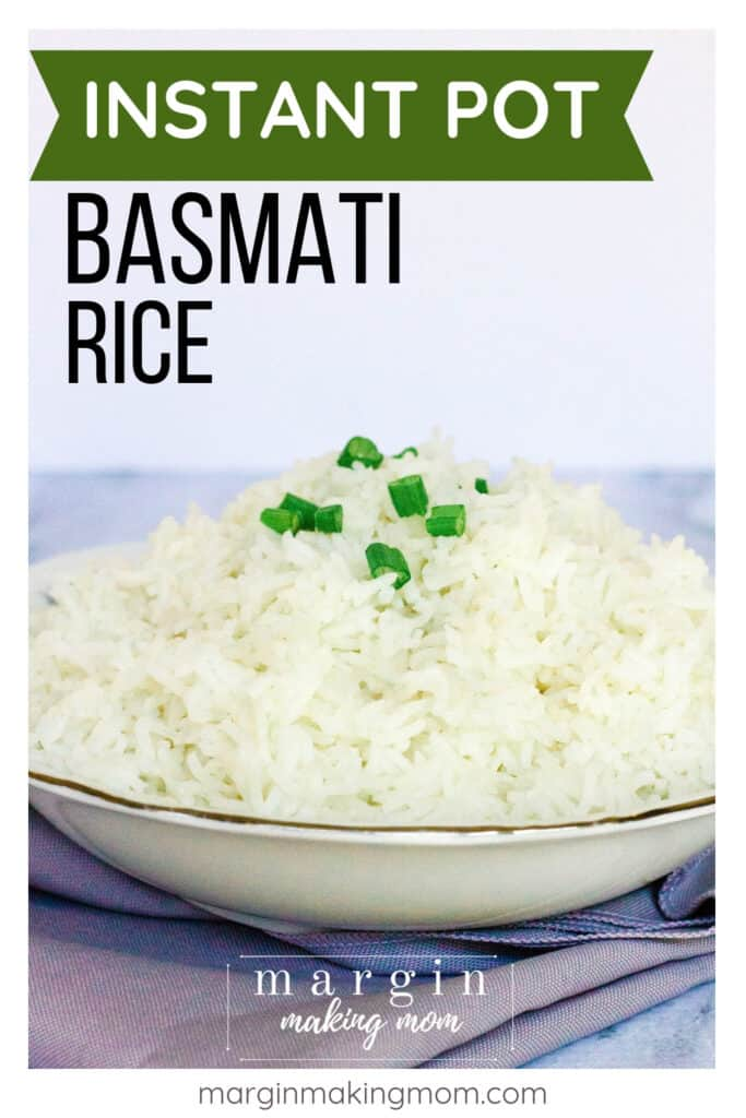 china bowl filled with basmati rice cooked in the Instant Pot