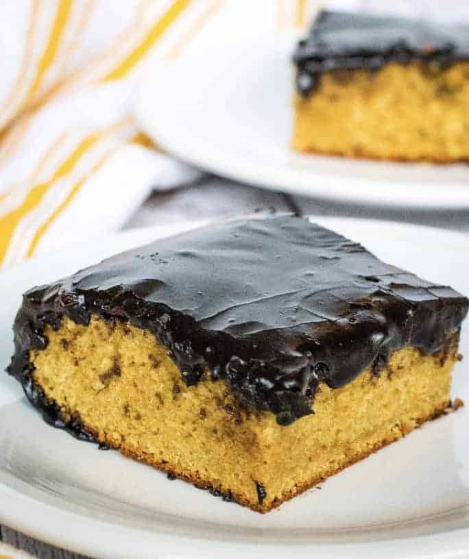 Easy Old Fashioned Peanut Butter Cake with Dark Chocolate Icing