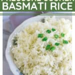 Instant Pot basmati rice in a china bowl