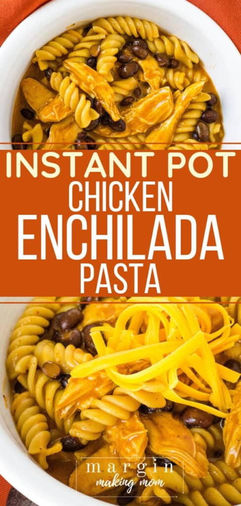 white bowl filled with chicken enchilada pasta cooked in the Instant Pot