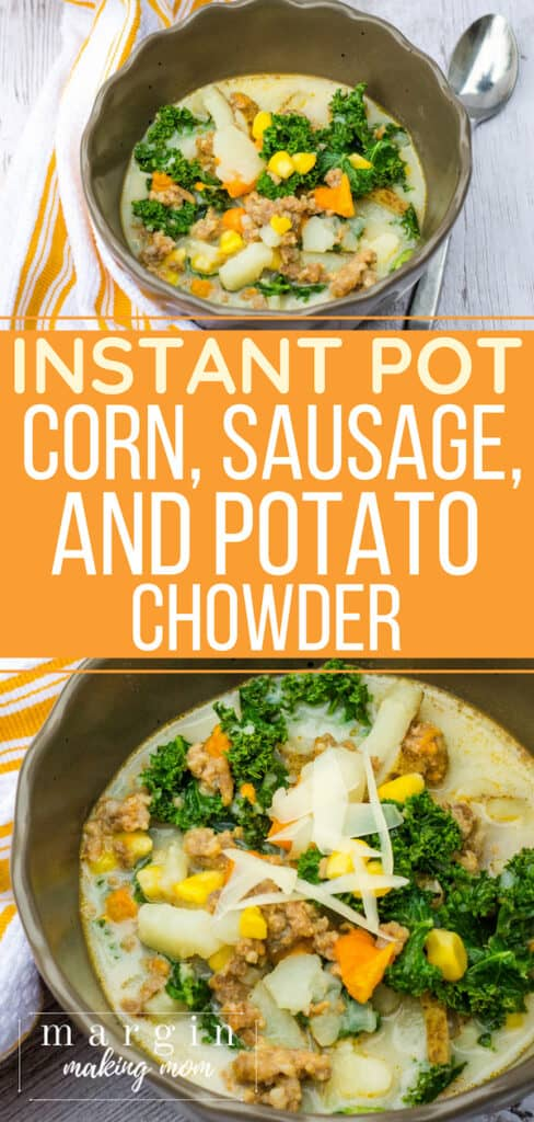 brown bowl filled with potato, corn, and sausage chowder that was cooked in the Instant Pot pressure cooker