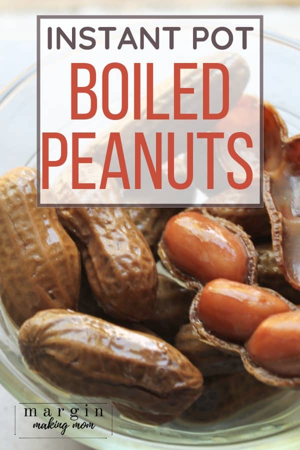 glass bowl filled with boiled peanuts cooked in the Instant Pot