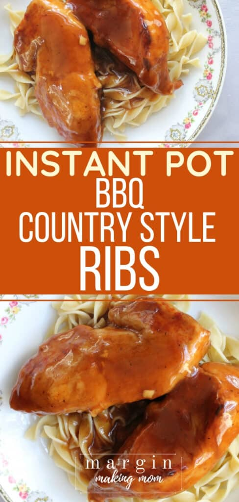 china plate with a bed of egg noodles topped with Instant Pot BBQ country style ribs
