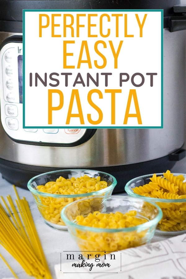 Instant Pot pressure cooker with three small glass bowls of dried pasta