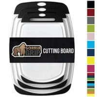 Gorilla Grip Original Reversible Cutting Board (3-Piece) BPA Free, Dishwasher Safe, Juice Grooves, Larger Thicker Boards, Easy Grip Handle, Non Porous, Extra Large, Kitchen (Set of Three: Black)