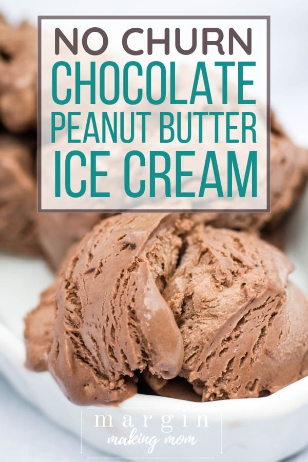 scoops of no churn chocolate peanut butter ice cream in a white dish