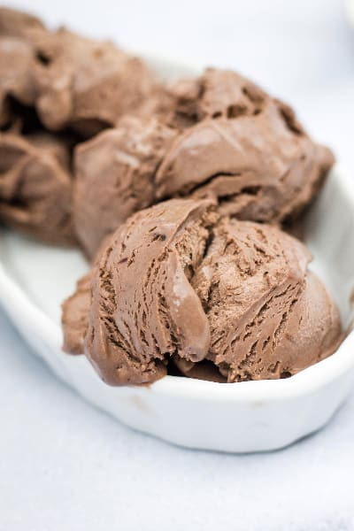 scoops of homemade chocolate peanut butter ice cream