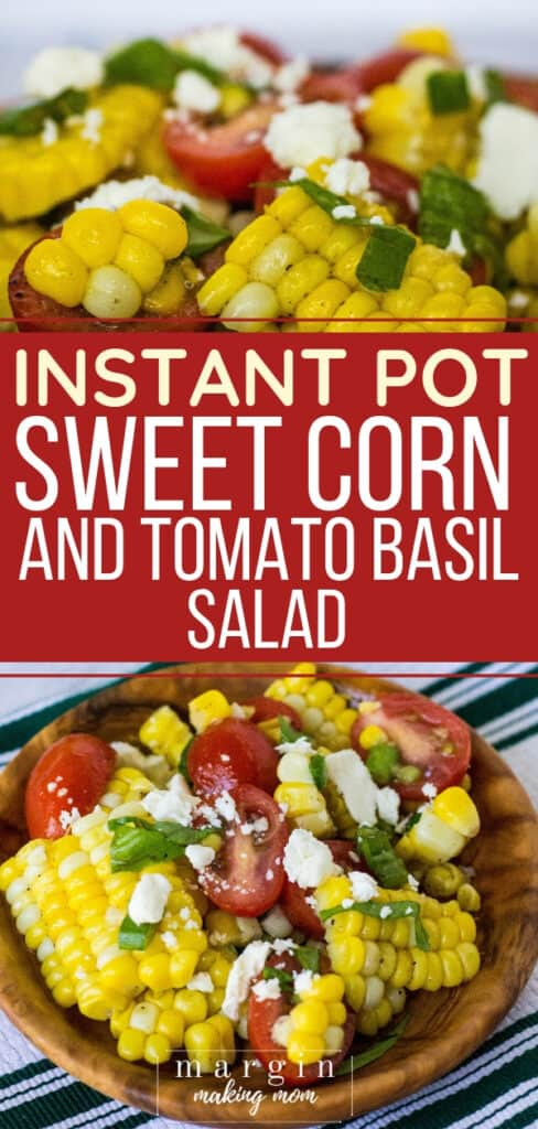 wooden bowl filled with sweet corn and tomato basil salad