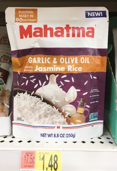 Mahatma Ready to Serve rice on a shelf at Walmart